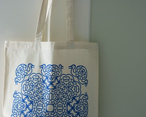 Hey, I found this really awesome Etsy listing at https://www.etsy.com/listing/71730096/blue-cranes-tote-bag