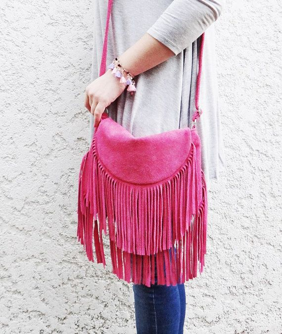 This is the one is by far a statement and will set you apart from the rest! A just for fun - Boho fringe handmade suede leather crossbody bag in rare