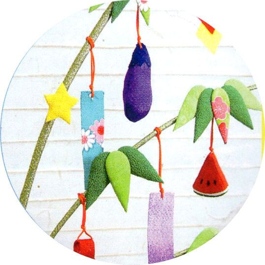 Star festival Bamboo decoration-chirimen zaiku