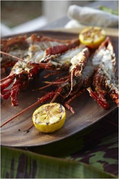 Local Anguillan crayfish served on a bamboo platter at Viceroy Anguilla.