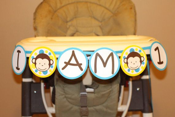 Mod Monkey Highchair Banner I am 1 highchair  - Mod Monkey GIRL Mod Monkey BOY - 1st year birthday party - High Chair Sign (DIY Printable) on Etsy, $8.99