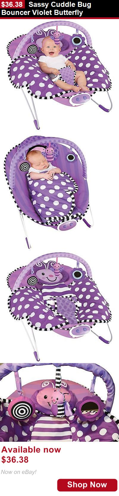 Baby bouncers and vibrating chairs: Sassy Cuddle Bug Bouncer Violet Butterfly BUY IT NOW ONLY: $36.38