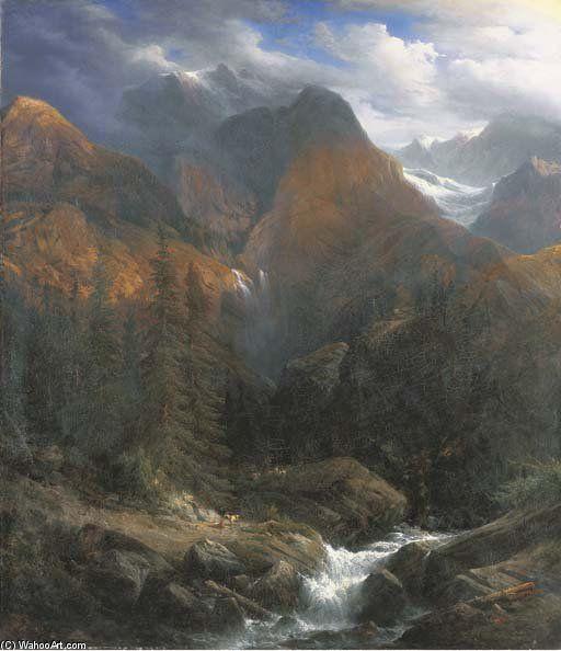 Paysage Des Alpes Suisses de Francois Diday (1802-1877, Switzerland)