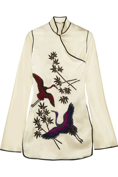 Attico - Elena Embellished Embroidered Satin Mini Dress - Cream -