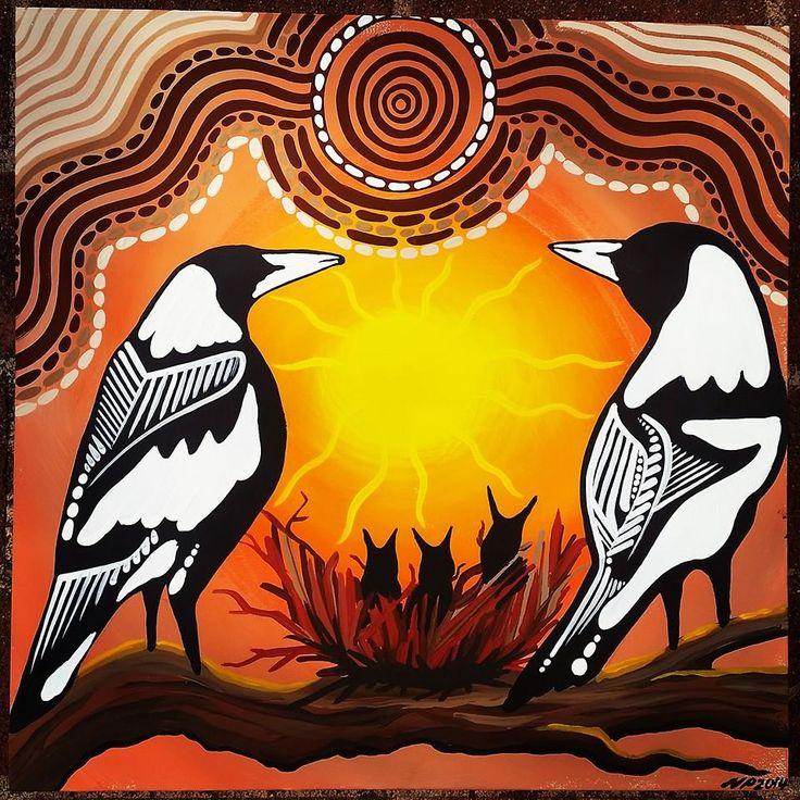 "Magpies ""Nesting Season"" Iluka Art & Design painted today."