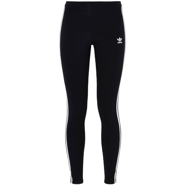 Adidas Originals Leggings ($45) ❤ liked on Polyvore featuring pants, leggings, black, striped jersey, cotton leggings, legging pants, stripe leggings and cotton stretch leggings