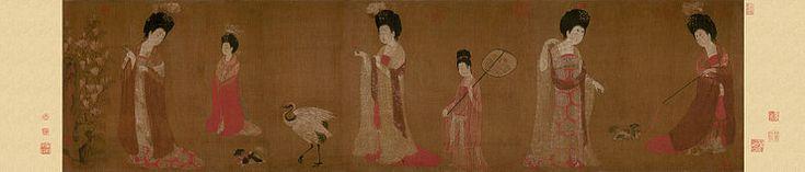 Чжоу Фан. Придворные дамы с цветами в причёсках. Музей провинции Ляонин, Шэньян