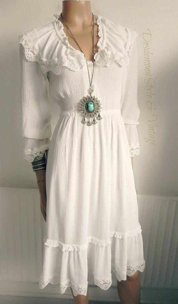 10c57a884c42 Vintage original 1970s tiered white midi dress boho cheesecloth summer  festival gypsy frill lace crochet gauze