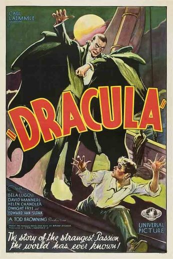 Filme: Dracula (Drácula, 1931). Direção: Tod Browning. Elenco: Bela Lugosi, Helen Chandler e  David Manners.