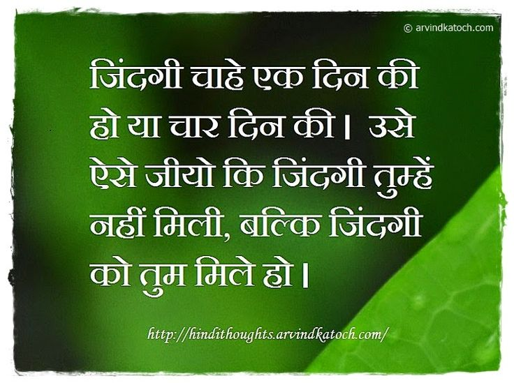 Hindi Thoughts: Hindi Thought (Whether life is of one day/जिंदगी चाहे एक दिन की हो )