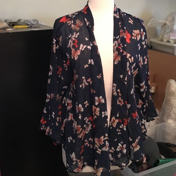 NWOT! Navy sheer butterfly jacket! New without tags! Beautiful! Sheer chiffon navy batwing top with butterfly motif. Xhilaration Jackets & Coats