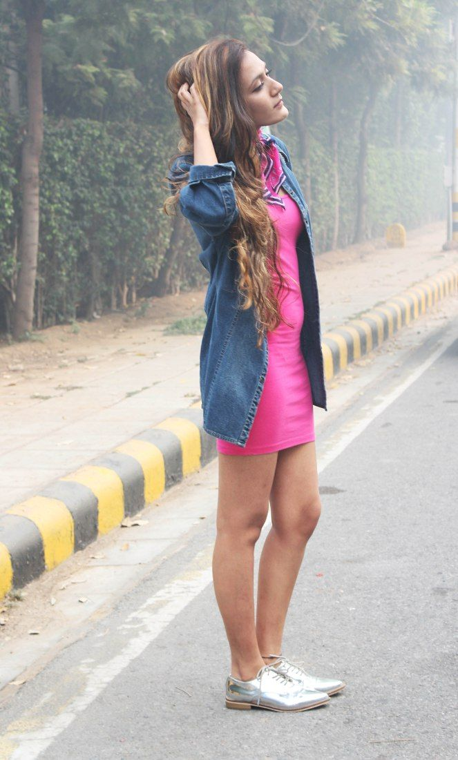 Oversized Denim Shirt with Dress - allstyletalk