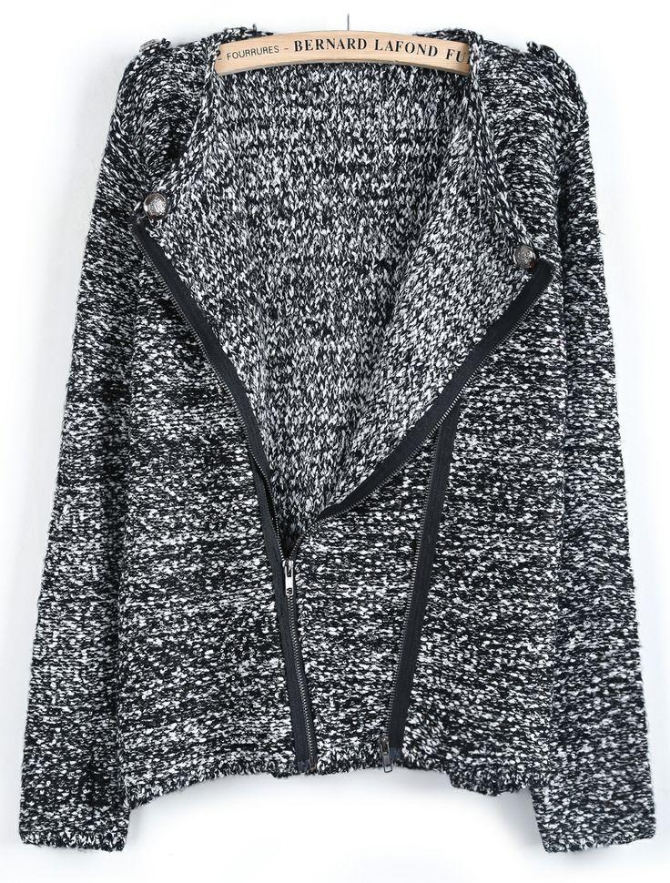 Black Long Sleeve Oblique Zipper Sweater US$57.70