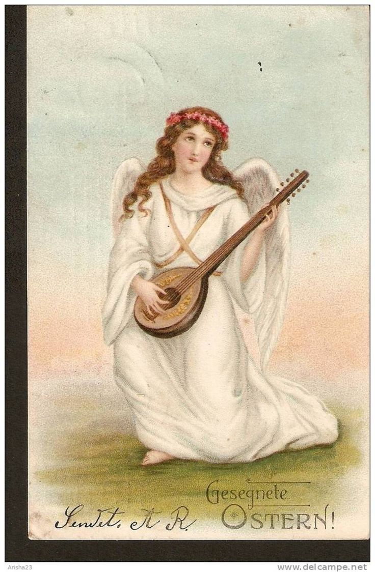 Old postcard Easter holidays Gesegnete Ostern - Angel Engel playing musical instrument - posted Riga post in 1919