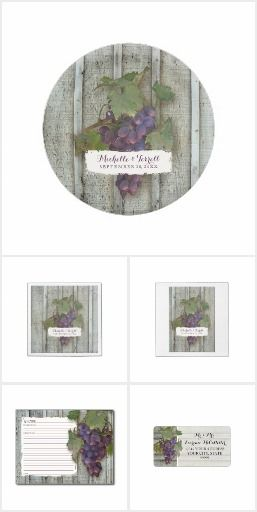 Wine | Rustic Vineyard Grapes Theme | Wedding, Bridal Shower or Corporate Events - This collection is a wonderful mix of trendy and classic.  Wine, winery or vineyard venues are a popular location for all the special occasions of life.  This artwork easily coordinates to make your celebration easy and memorable.  #wine #theme #winery #vintage #vineyard #wooden #fence #board #grapes #wedding #location #invitation #decor #bridal #shower #personalized #template #art #painting #audreyjeanne