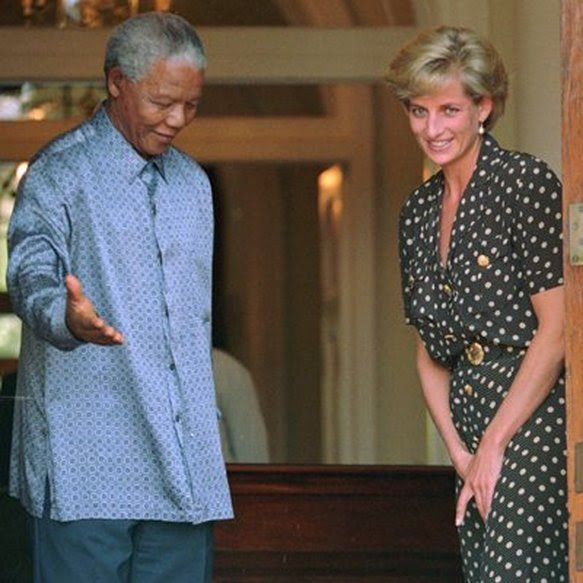 """Diana's meeting with President Nelson Mandela on March 17th 1997, at his home in Capetown South Africa.They went on to become great friends, and after Diana's death on August 31st 1997, Nelson was one of the many world leaders who paid tribute to Diana and her charity work., describing her as """"One of the great embassadors of Great Britain"""""""
