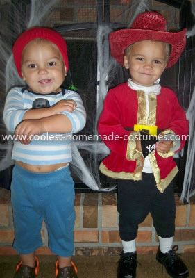 Homemade Pirate, Captain Hook, and Smee Costume with Pirate Ship: My 3 boys, age 4 and almost 2 year old twins, wanted to be pirates this year. I decided to go with a Homemade Pirate, Captain Hook, and Smee Costume with