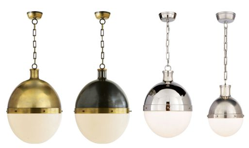 The Hicks Pendant by Thomas O'Brien for Visual Comfort shown in (left to right): Extra Large in Hand-Rubbed Antique Bronze, Extra Large in Bronze with Hand-Rubbed Antique Brass Accents, Large in Polished Nickel, Small in Antique Nickel