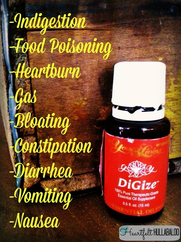 Young Living's DiGize helps with indigestion, food poisoning, heartburn, gas, bloating, constipation, diarrhea, vomiting, nausea and more! Heartfelt Hullabaloo #essentialoils