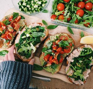 Avo, tomatoes, basil + lemon. Bean spread, spinach, cucumber + nutritional yeast.