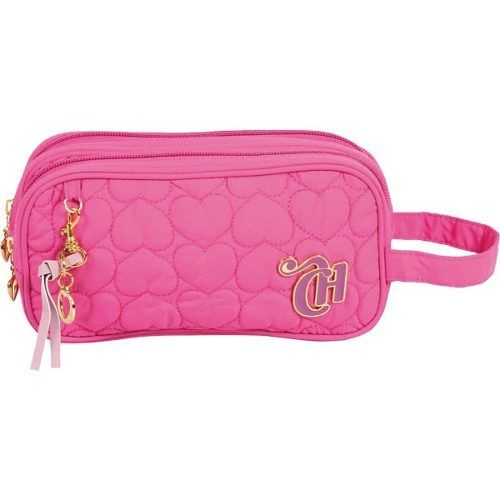 estojo capricho love pink 2 ziper original pronta entrega