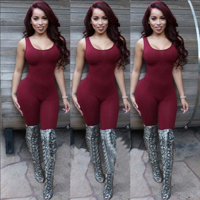 Elegant Women Rompers Jumpsuit 2016 Summer Sleeveless American Apparel Sexy Full Length Bodysuit Sexy Club Bodycon Playsuit