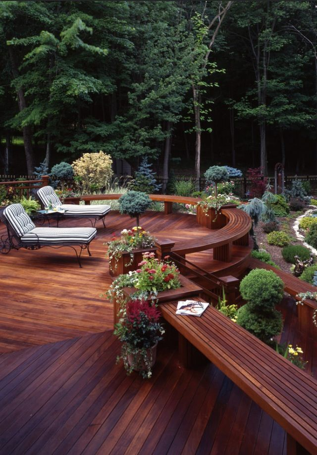 Decks, outdoor living space, landscaping, forest