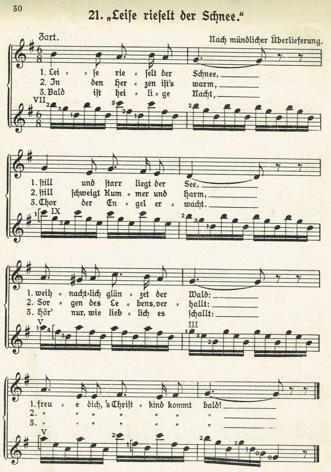 Leise rieselt der Schnee - Weihnachtslieder mit Noten und Texten ...