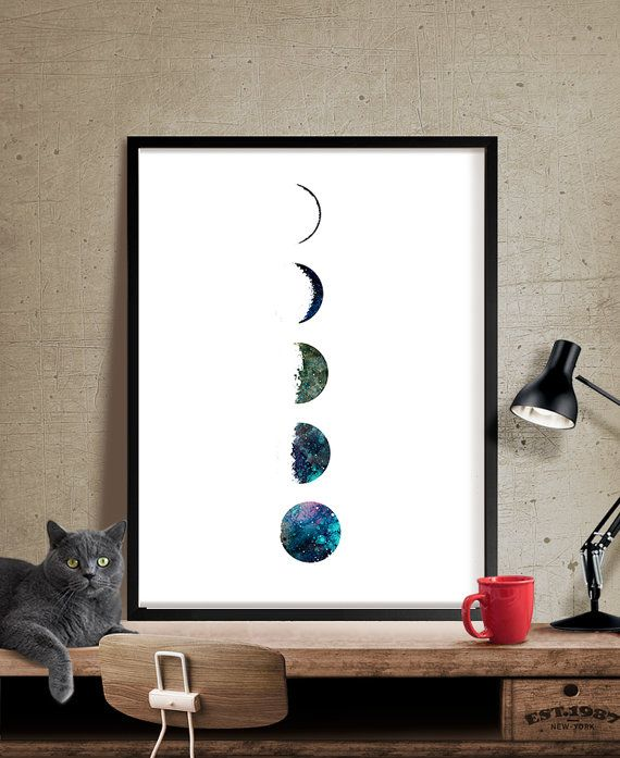 Galaxy Moon Phase Kunstdruck, Aquarell-Mond, Mond …