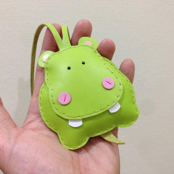 BIG Hugo the Hippo Leather Bag Charm  Green  by leatherprince, $43.90
