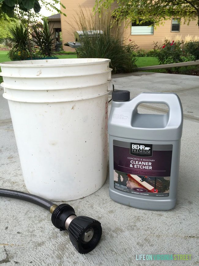 "used the BEHR PREMIUM Concrete and Masonry Cleaner & Etcher® to clean and ""prime"" the surface. We ended up following the dilution method found on the packaging (with a one-to-one ratio of water and cleaner), mixing it all in a five gallon bucket. We then simply followed the directions on the packaging. Quite honestly, this product alone would have made for a much cleaner area (simply by removing most of the spots and stains)"