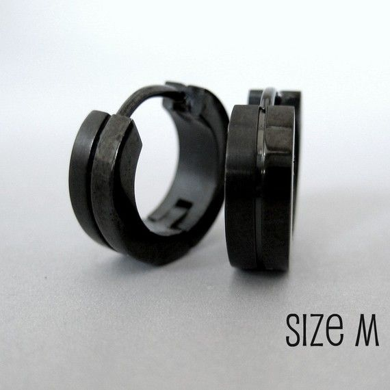 Mens Earrings Black Huggie Hoop - Ear Cartilage Piercing - Guys Cyber Corp Gothic Punk Rock - Stainless Steel - Medium HalfHalf no.153