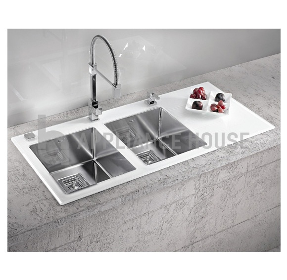 alveus crystalix 30 stainless steel sink with white glass. beautiful ideas. Home Design Ideas