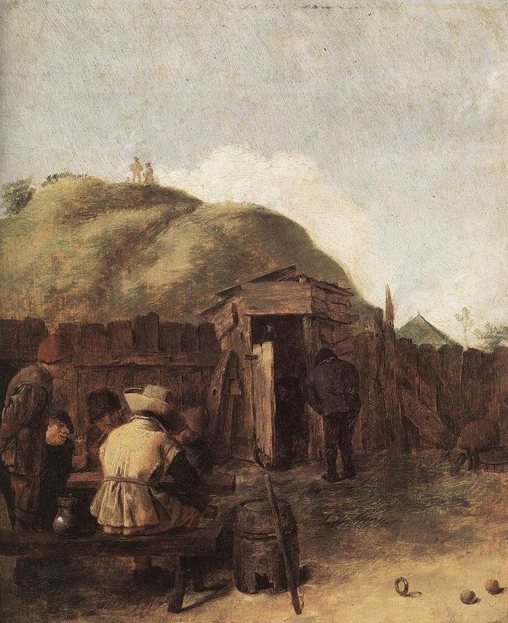 Drinkers in the Yard by Adriaen Brouwer