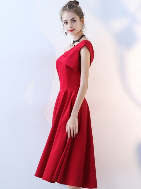 7b5d63e12da Burgundy One Shoulder Folded Detail Midi Dress in 2019