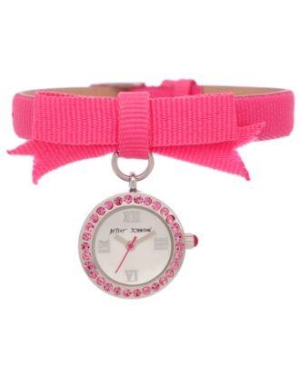 Betsey Johnson Watch, Women's Fuchsia Grosgrain Strap 17mm BJ00110-01 - All Watches - Jewelry & Watches - Macy's