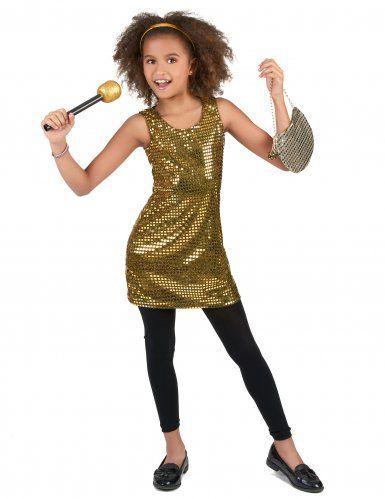 Gyllene discoklänning för barn till kalaset  f1393b39bd478