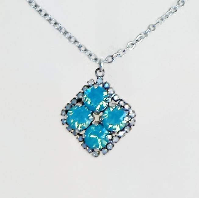 Swarovski crystal 8mm four stone pendant white opal and pacific opal #Swarovski