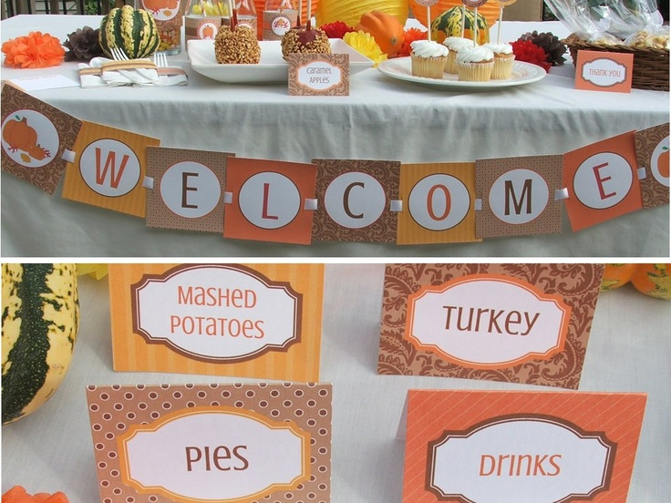 Fall Dinner Party Menu Suggestions Part - 34: Thanksgiving Decorations Dinner Party Harvest Fall Autumn Package Printable  DIY. $20.00, Via Etsy.