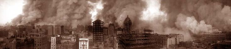 """A photo of San Francisco burning during the 1906 earthquake; view from the St. Francis Hotel. Credit: Library of Congress. Read more on the GenealogyBank blog: """"Researching the San Francisco Earthquake of 1906 in the News."""" http://blog.genealogybank.com/researching-the-san-francisco-earthquake-of-1906-in-the-news.html"""