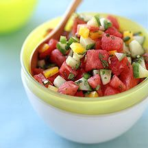 Watermelon Salsa  Weight Watchers - 1pt/serving (12 servings)  Awesome on a grilled Jennie-O turkey cutlet (3pts), Tilapia, or Ckn!!