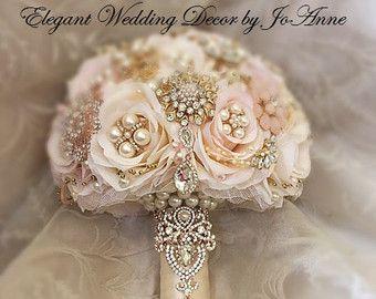 Elfenbein und GOLD Brosche Bouquet Kaution von Elegantweddingdecor