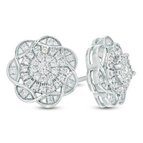 0.24 Ct D/VVS1 Round Cut Diamond 10K White Gold Over Cluster Stud Earrings $999 by JewelryHub on Opensky