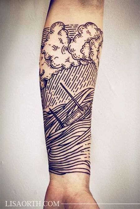 Linework Storm Sleeve | Best tattoo design ideas