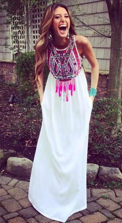 Vintage Pattern Tassel Dress