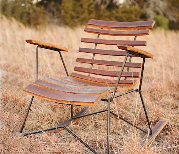Cask Rocker: Wooden Chairs, Diy Ideas, Wine Barrels, Barrels Chairs, Petrified Design, Cask Rockers, Wooden Rocks Chairs, Rustic Modern, Front Porches