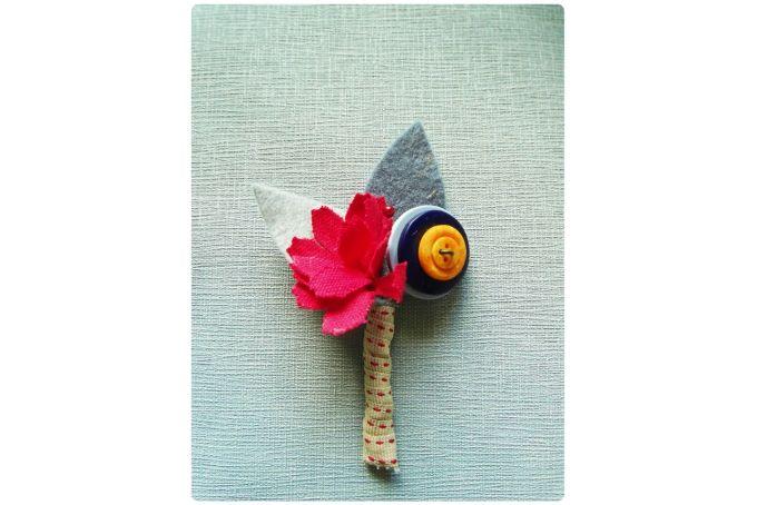 Button Flower Boutonniere by Yellow Papaya