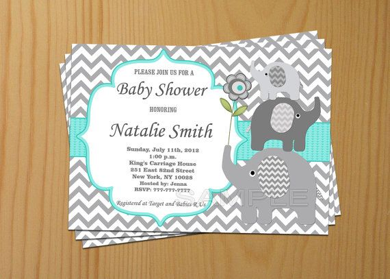 Baby Shower Invitation Elephant Baby Shower Invitation Boy Baby Shower Invitation Invites (01) - Free Thank You Card - Instant Download