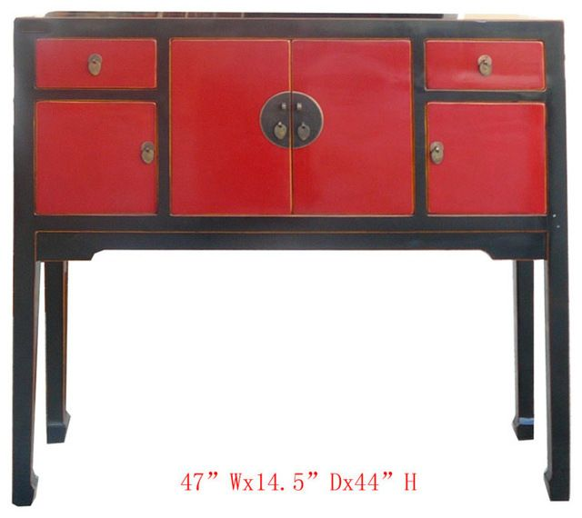 Chinese Black&Red Lacquer Entrance Hallway Altar Console Table eclectic-console-tables