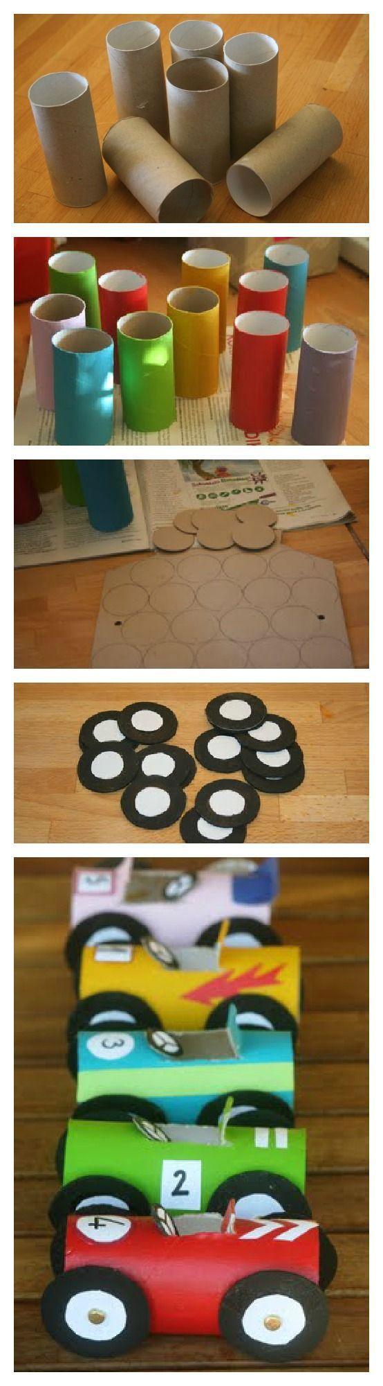 http://artesanatobrasil.net/o-que-fazer-com-um-rolo-de-papel-higienico/ #reciclagem #rolospapel #carros #artesanaot